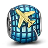 LONAGO Happy Holiday Travel Together Vacation Airplane Globe Charm 925 Sterling Silver Blue and Yellow Enamel Bead Compatible for Pandora Bracelets