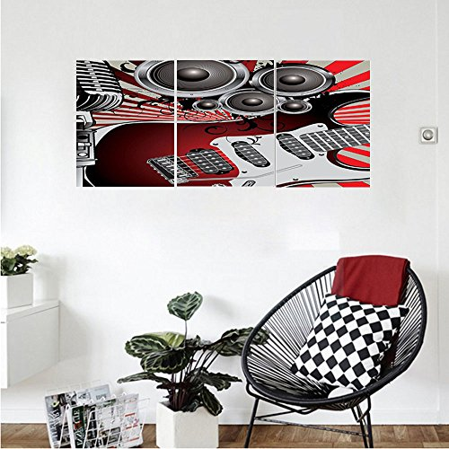 Liguo88 Custom canvas Music Decor Music Old Fashioned Speaker Loudspeaker Geometrical Striped Background Wall Hanging for Bedroom Living Room