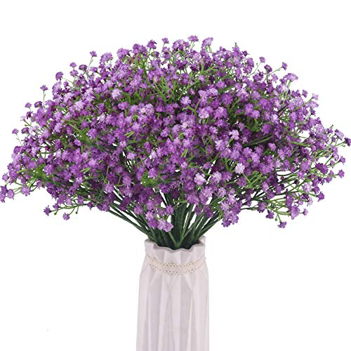 - Bomarolan Artificial Baby Breath Flowers Fake Gypsophila Bouquets 12 Pcs Fake Real Touch Flowers for Wedding Decor DIY Home Party(Purple)