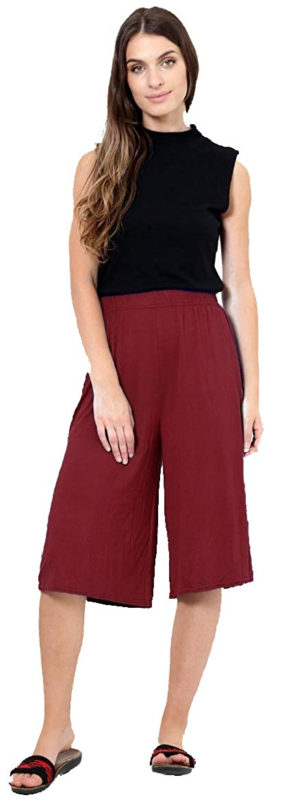 Red Olives Womens Ladies Plain 3/4 Length Short Palazzo Trousers Casual Wide Leg Culottes Pants Plus Sizes UK 16-26