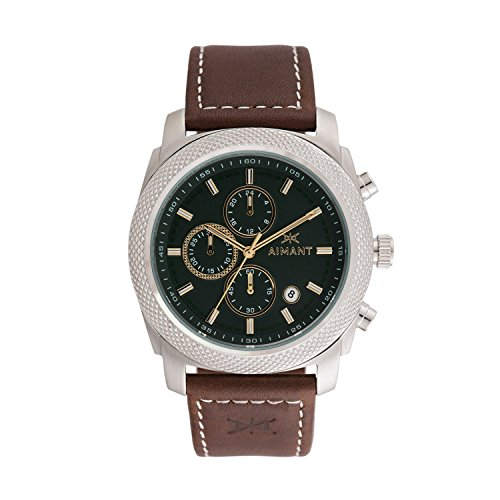 AIMANT-Mens-Jackson-Silver-with-Brown-with-stitches-Leather-Band-Watch-GJA-120L5-3S