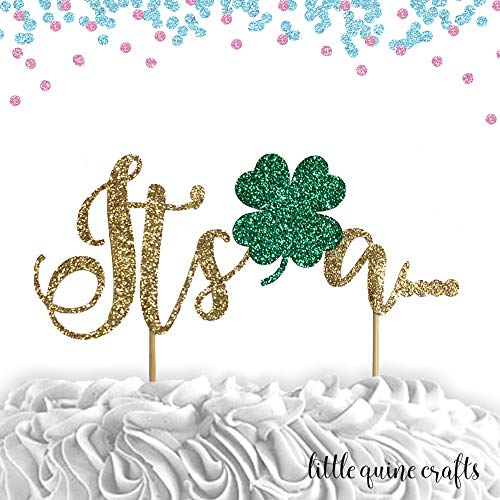 1 pc It's a. shamrock clover head cake topper gold glitter baby shower gender reveal baby boy girl st Patrick st paddy's day lucky charm