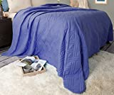 Lavish Home 66-40-FQ-N Solid Color Bed Quilt - Full/Queen - Navy