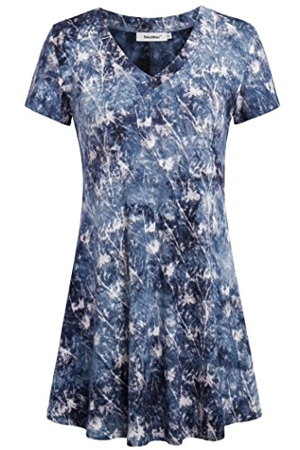 - Sixother Tunics for Women, Women's V Neck Tunic Shirts Short Sleeve Slim Fitted Tops Flattering Lightweiht Comfy Tie Dye Blouse for Female V Neck Flowy Tops for Leggings Blue XL