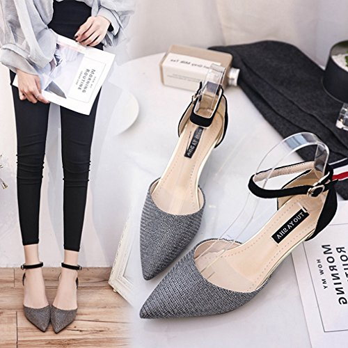 Dressy Sandals Strap Buckle Shoes Pumps JULY Close Stilettos Sequins Ankle Womens Toe Sparkle with Glitter Silvery T Heel g8Hw6Fzw