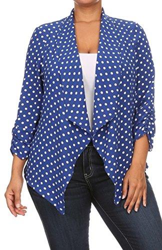 2LUV Plus Women's Open Front Gathered Sleeve Plus Size Blazer – X-Large, Royal Blue1