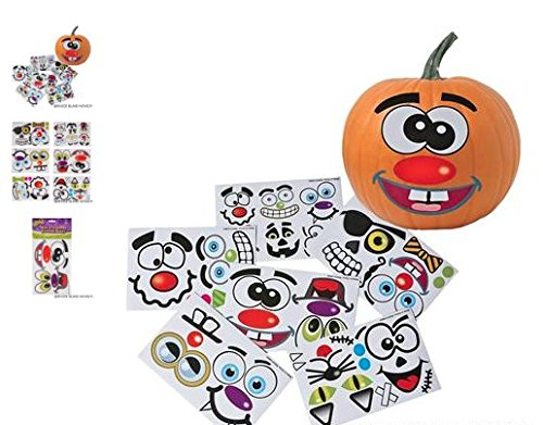 RIN (12) Make A Jack-O-Lantern Stickers ~ Pumpkin Stickers ~ Halloween Fun ~