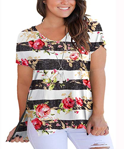 YASAKO Womens Plus Size Tops V Neck Floral Print Casual Striped Shirts with Side Split Loose Tees Black XL