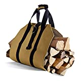 Syntrific Large Canvas Log Tote Bag Carrier Indoor40 x19 Fireplace Firewood Totes Holders Fire Wood Carriers Carrying for Outdoor Waxed Durable Wood Tote Fireplace Stove Accessories