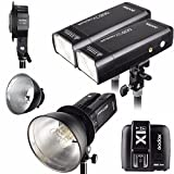 Godox 2pcs AD200 200Ws 2.4G TTL Flash Strobe Kit + X1T-S + AD-B2 + Bowens Reflector w/ EACHSHOT Cleaning Cloth for Fujifilm