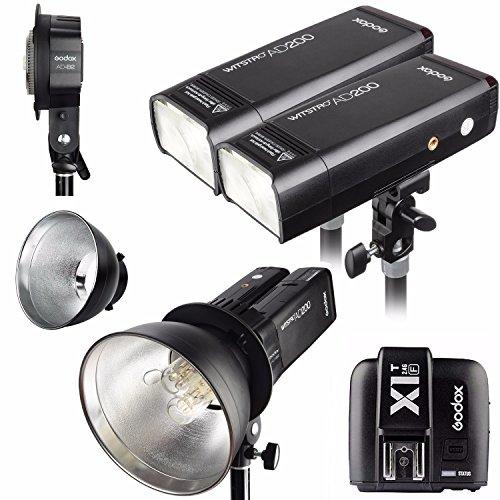 Godox 2pcs AD200 200Ws 2.4G TTL Flash Strobe Kit + X1T-S + AD-B2 + Bowens Reflector w/ EACHSHOT Cleaning Cloth for Fujifilm by Godox