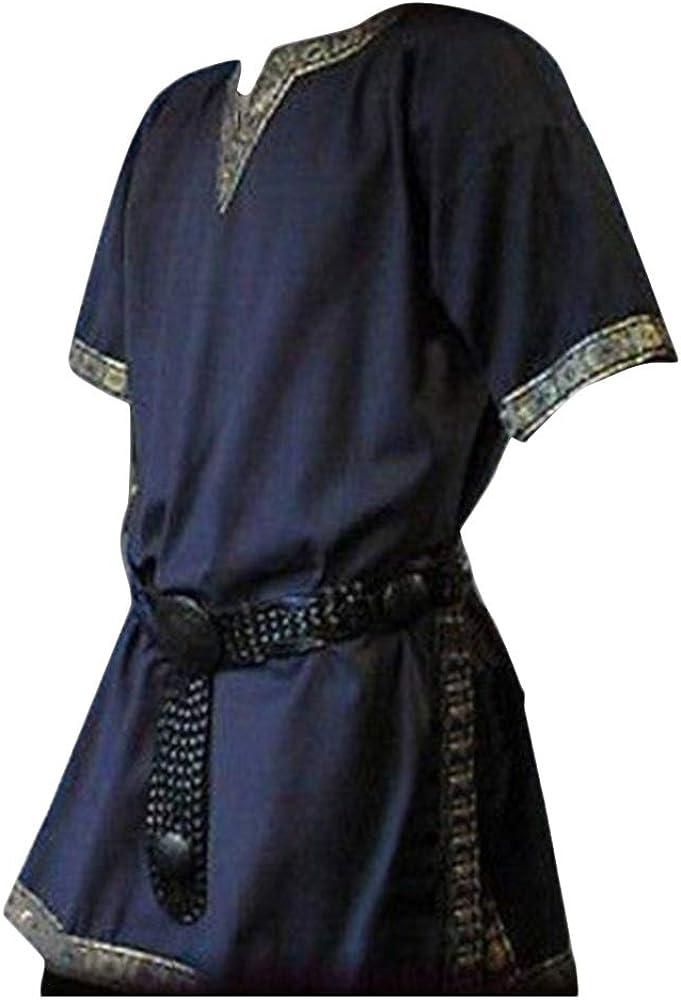 Hombres Manga Corta Medieval De Los Tunica Medieval Camisa con Cuello En V Sin Correa Traje Azul Marino M: Amazon.es: Ropa y accesorios