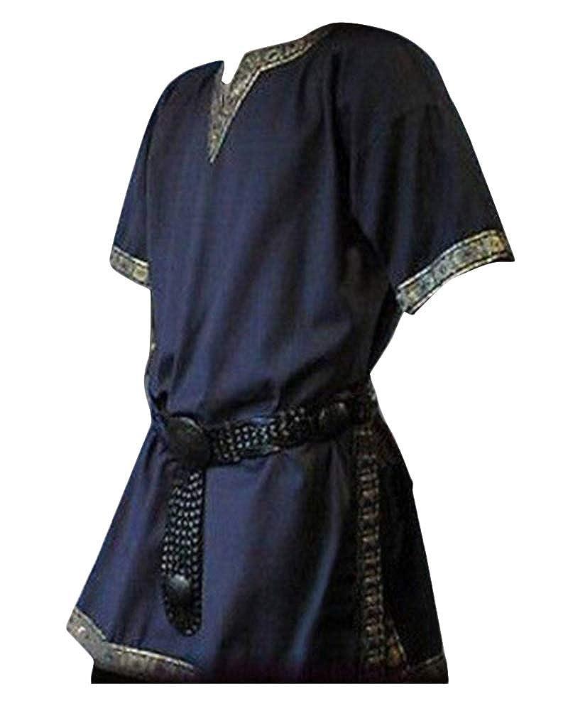 LiangZhu Uomo Camicetta Medievale Manica Corta Blusa V-Collo Camicia Tops Vintage Vittoriano Costume Senza Cintura