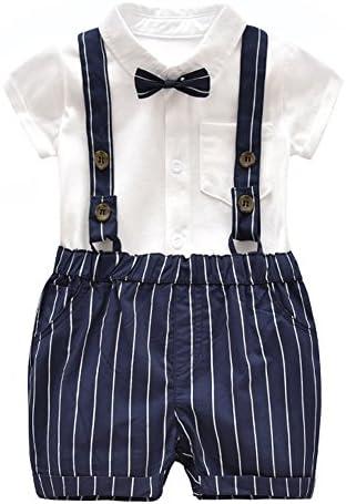f2bfece19 Ding-dong Baby Boy Summer Cotton Gentleman Short Sleeve Bowtie  Romper+Striped Suspenders Shorts