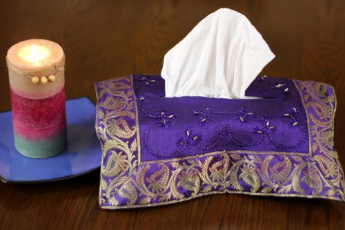 Hand Embroidered Decorative Tissue Box C - Elegant Purple Box Shopping Results