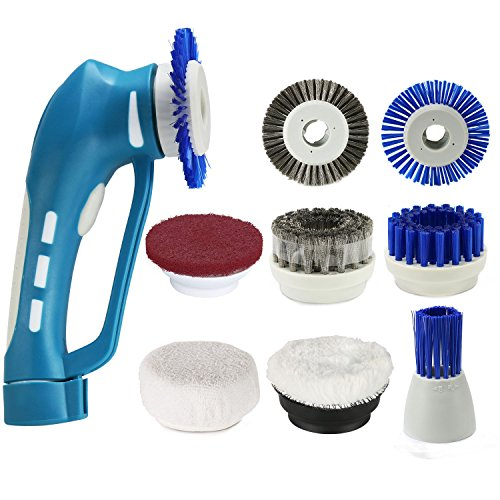 Household Power Scrubber, Car Polish Kit ,Cordless Electric Cleaning Kit with Rechargeable Battery, 7Pcs Replacement Brushes and 1Pcs Scouring Pad Multi Purpose for Shoes, Bathroom and Kitchen