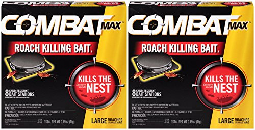 Combat Roach Control - Combat 023400519132 Max Killing Large Roaches, 8 Bait Stations (Pack