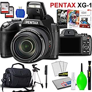Pentax XG-1 Digital Camera (Black) with 2 x SDHC Memory Cards, USB Card Reader, Padded Carrying Case, Tripod, Monopod, Editing Software and Cleaning Kit