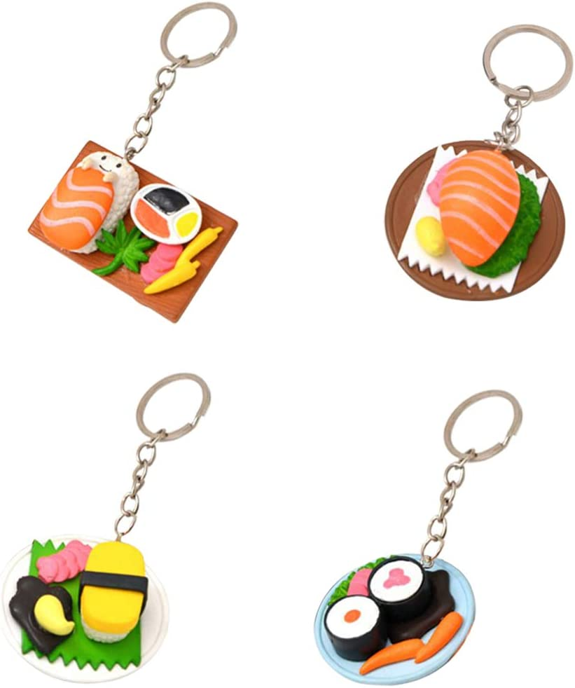EOPER Sushi Key Holders, 6 Pieces Creative Japaneses Style Salmon Slices Sushi Shaped Keyrings Keychains Pendant Car Bag Charm Collectable Figurines for Men Women Random Color