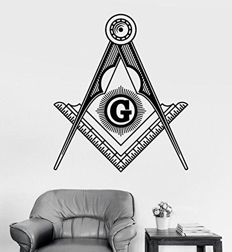Vinyl Wall Decal Masonic Symbol Freemasonry Square and Compasses Stickers 1814ig ()