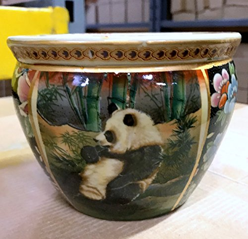 New 6 Oriental Panda Bear Family In Bamboo Patch Themed Fish Bowl Jardiniere Planter Plant Pot
