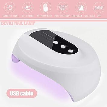 Lámpara Secador de Uñas 36W LED Lámpara De Clavo para Todos Los Tipos Gel 60s / 90s / 120s Cable USB UV Lámpara De Secado De Uñas: Amazon.es: Hogar