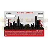 New York NY Red City Skyline MMJ Cannabis State Compliance Sticker Labels 1.25 x 2'' (100)