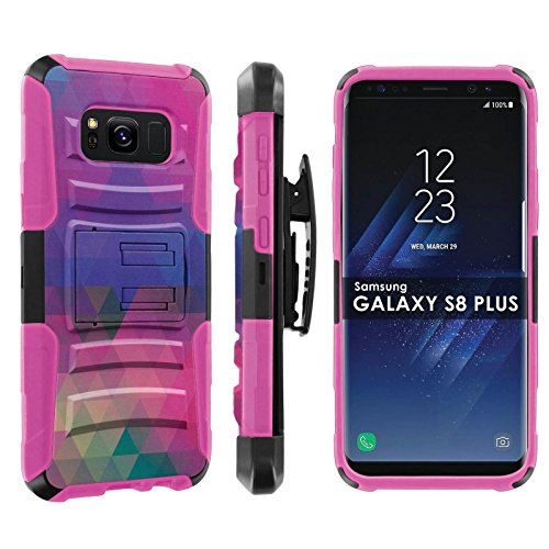 ([POPCulture] Armor Case For Galaxy S8Plus [Black/ Hot Pink] Tactical Armor Case [KickStand] [Holster] - [Multi Block] Print Design)