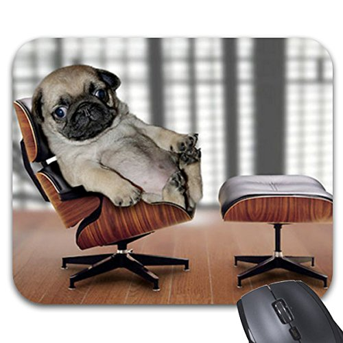 Prints Recliner (Mousepad Pug Chilling In A Recliner Chair. Print Non-Slip Natural Rubber Mouse Mat 9 X 7.5 Inch)