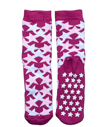 SLIPPER NON SKID SOCKS | KIDS ANTI SLIP COTTON SOCKS WITH STARS | ITALIAN HOSIERY | (USA: 7/11 = EU: 24/28, FUXIA) by CALZITALY