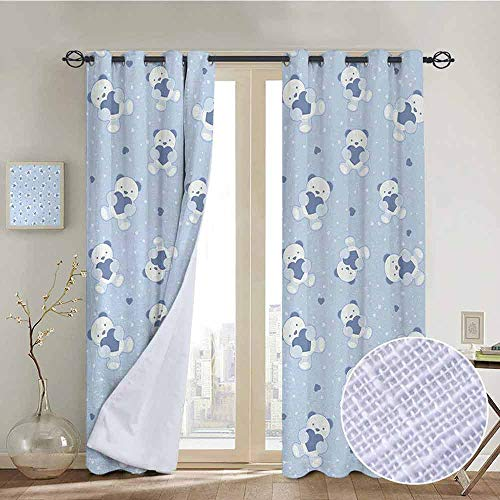 NUOMANAN Blackout Curtain Panels Window Draperies Boys,Teddy Bears on Blue Backdrop Holding Hearts Baby Shower Theme Toddler,Baby Blue Cadet Blue White,for Bedroom, Kitchen, Living Room 120