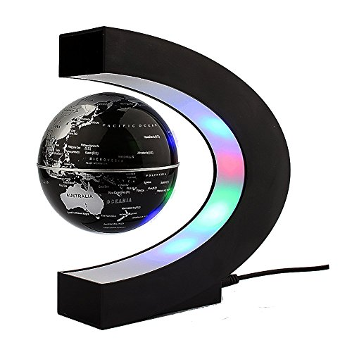 Magnetic Levitation Floating Globe with LED Lights 3-inch Globe World Map C Shape Base for Home & Office Decoration, Learning & Teaching (Silver/Black)