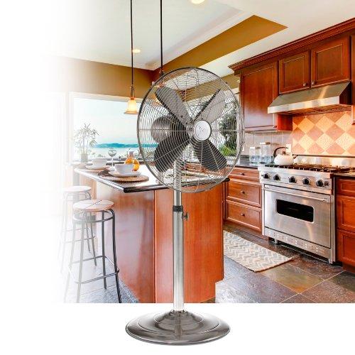 DecoBREEZE Pedestal Fan Adjustable Height 3-Speed Oscillating Fan, 16-Inch, Brushed Stainless Steel