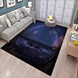 Space Door Mats for Inside Massive Milky Way Over The Sea Appears to Be a Dark Matter Halo Spread Out in Solar Center Bath Mat for tub Bathroom Mat Blue
