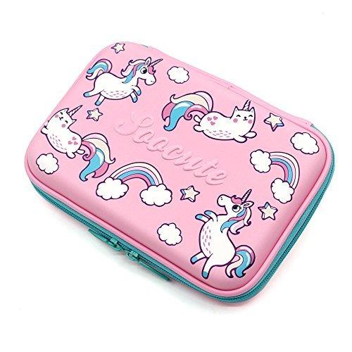 Soocute School Gilrs Cute Cartuchera de carcasa dura grande con compartimento, para niños, rosado (Pink Unicorns)