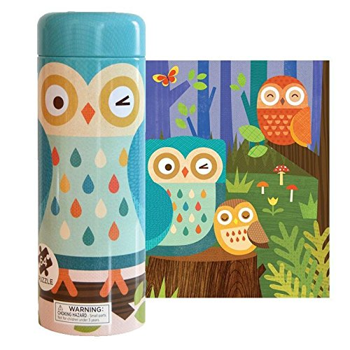 Petit Collage Tin Canister Jigsaw Floor Puzzle, Owl Family, 64 Piece (Petit Collage Owl)