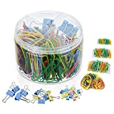 Perzodo 340 Pieces Stationery Set Including Various Sizes Paper Clips, Binder Clips, Rubber Bands - Office Organization, Office Supplies Set for Home, School and Business
