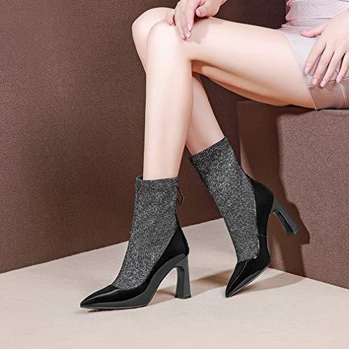 Pierna Áspero Cuero Con Zapatos Elásticas Botas Alto Redonda Tacón De Mujer Media Invierno Tacones Segundo A Gruesos Punta Yan 8wOqI