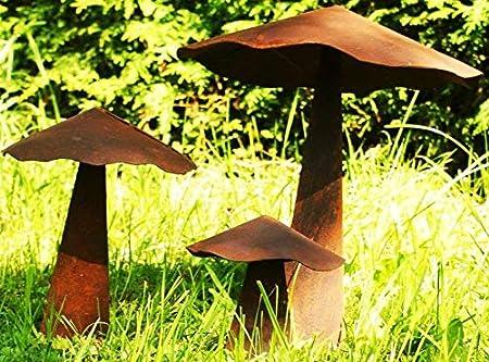 Rost Deko Pilze Im 3er Set Gartendeko Amazon De Garten