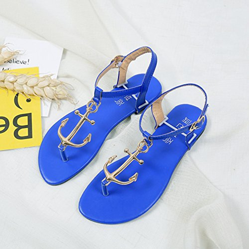 de Sandalias Bohemia Zapatos Flops Azul de la Verano Mujer Zapatos playa Flip Sentao 8nWa1p01