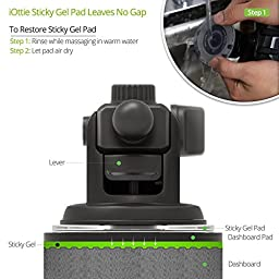 iOttie Easy One Touch 3 (V2.0) Car Mount Universal Phone Holder for iPhone 7 Plus 6s Plus SE Samsung Galaxy S8 Edge S7 S6 Note 5- Retail Packaging- Black