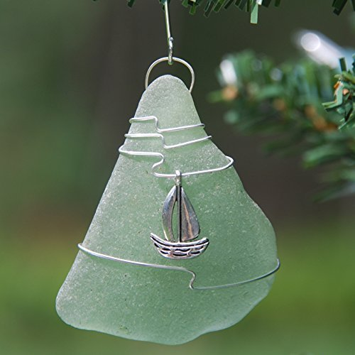 Custom Surf Tumbled Sea Glass Ornament with a Silver Sailboat Charm and Brown. Green Choose Your Color Sea Glass Frosted