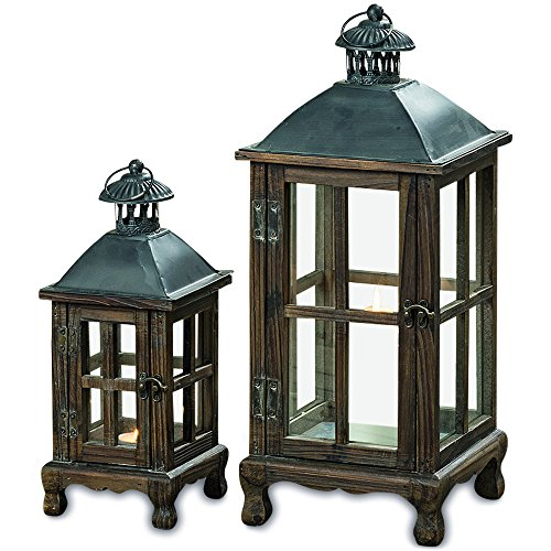 WHW Whole House Worlds Urban Zen Style Rustic Candle Lanterns, Set of 2, Rustic Brown, Vintage Gray, Galvanized Reflective Bottom, Glass, Wooden Cross Post Panels, 11 3/4 and 19 5/8 Inches Tall