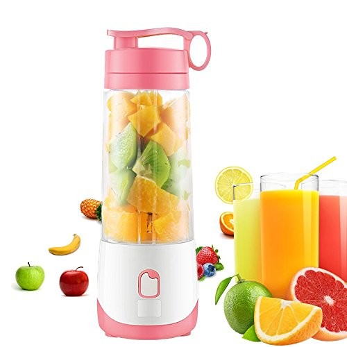 CloverTale Mini USB Rechargeable Electric Fruit Juicer portable Blender with Charging Cable Magnetic Safety Lock (Pink)