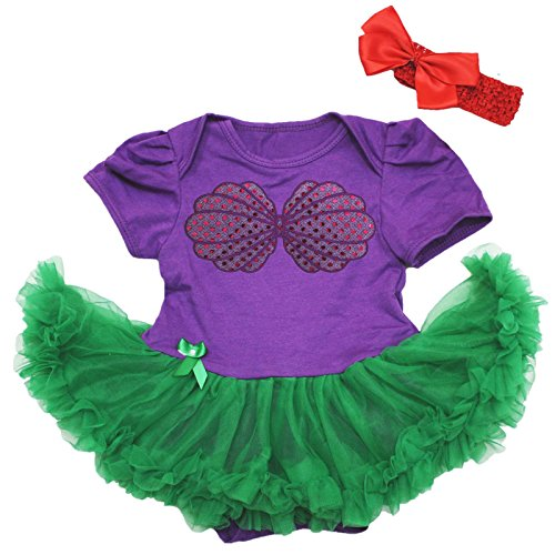 Petitebella Mermaid Shell Purple Bodysuit Green Baby Dress Nb-18m (3-6 Months) -