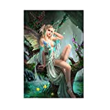 TiTCool 5D Diamond Painting, Wood Cute Elves 30x40CM, Diamond Embroidery by Number Kits Arts Pasted Craft DIY Home Decor