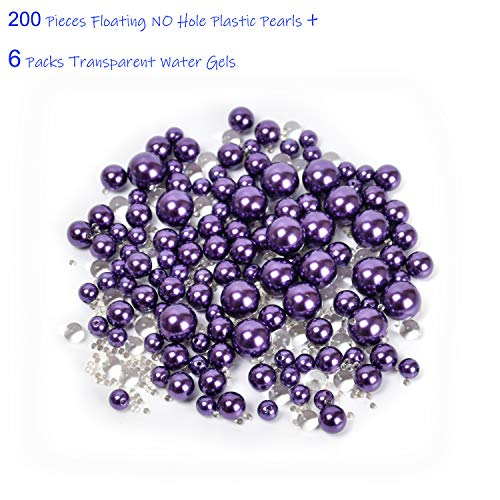 Z-synka Assorted Plastic Bead Pearls,200Piece Sale Floating NO Hole Plastic Pearls + Includes 6Pack Transparent Water Gels for Floating The Pearls,Wedding,Birthday Party Home Decoration,etc,Purple
