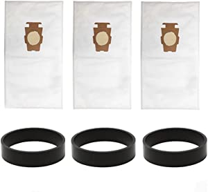 VACFIT Bags for Kirby Style F/T Sentria Model Dust Bag Replacement for Kirby Part 204808 204811 Filtration Vacuum Bag Vacuum Belt Vacuum Cleaner Attachments(3 Bags +3 Belts)