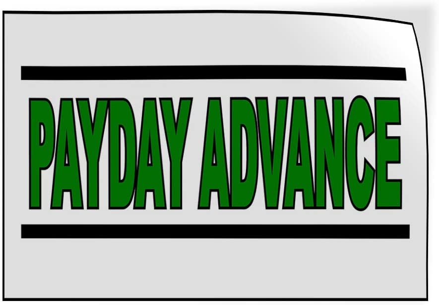 14inx10in Set of 10 Decal Sticker Multiple Sizes Payday Advance White Green Black Business Cash Now Outdoor Store Sign White
