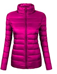 Women's Ultra-Lightweight Stand Collar Packable Down Puffer Jacket Coat with Travel Bag,CYRF02,02Rose Red,XS